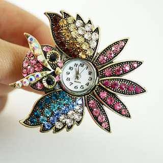 d901 Womens Tibet Silver Owl Rhinestone Crystal Adjustable Ring Watch
