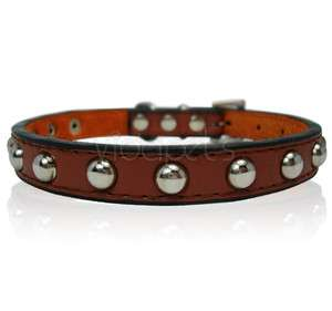 11 brown Leather Studded Dog Collar Small XS