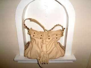 BIG BUDDHA Ivory Light Beige Leather Like Stud Drawstring Satchel Tote