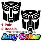 TRANSFORMERS AUTOBOT 4 inch Black Vinyl Decals Stickers