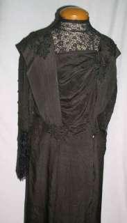 Elegant Black SIlk Edwardian Gown w  30