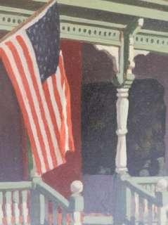 Hocker (1918 ) Texas American Flag Patriotic Oil Painting Original