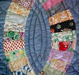 Vintage Cotton Flour / Feed Sack Fabric WEDDING RING QUILT Hand Pieced