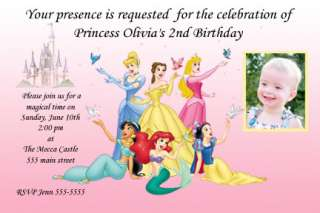 Custom Disney Princess Birthday Party Invitations cards ~ You Print