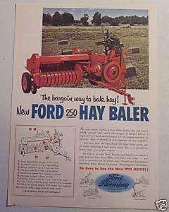 1955 NEW FORD 250 HAY BALER ..NEW PTO MODEL FARM AD ART