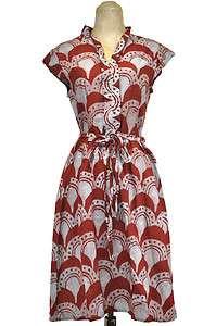 Global Mamas Fair Trade Block Printed Retro Shirt Dress Burgundy Fans