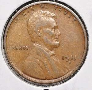 1911 S LINCOLN WHEAT 1c CENT XF
