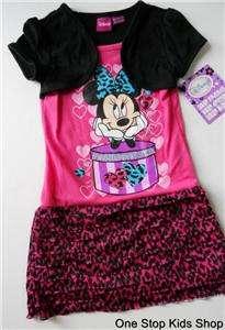 MINNIE MOUSE Girls 4 5 6 6X 7 8 10 12 Set DRESS Outfit Shirt Skirt Top