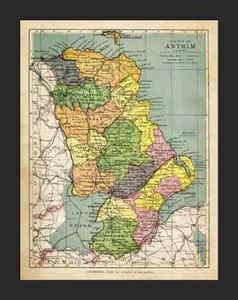 ANTRIM County, Northern Ireland, 1898 DATED Map, SCARCE