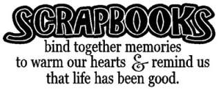 SCRAPBOOKS Bind Together Wall Quotes Vinyl Decal Scrapbooking