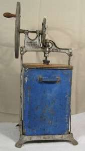 Antique Tin Blue Painted DAZEY Butter Churn 1917