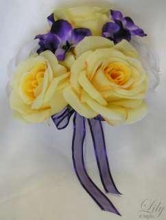 17pcs Wedding Bridal Round Bouquet Gerbera Daisy PURPLE