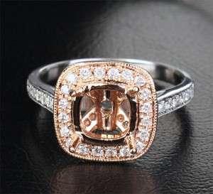 14K Two Tone GOLD .42ct DIAMOND Milgrain Legacy SEMI MOUNT RING
