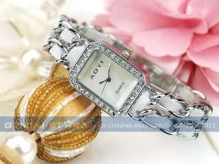 Fashion Crystal Bezel Numberless PU+Metal Strap Lady Bracelet Dress
