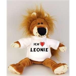 Plüschtiere Löwe mit Ich liebe Leonie T Shirt, Größe 27 cm