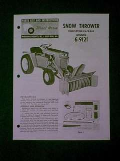 WHEEL HORSE TRACTOR SNOW THROWER 6 9121 MANUAL