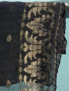 Metallic Embroidered Black and Gold, Antique, Vintage, fringed HUGE