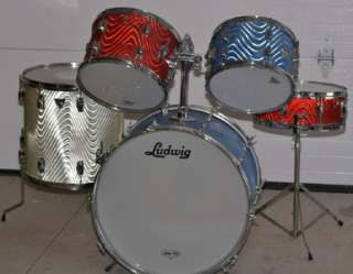 Vintage Ludwig Standard 5 Piece Drum Set Astro Red White Blue