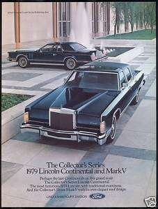1979 Midnight Blue Lincoln Continental & Mark V Car Ad