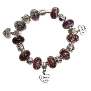 silver & gold lampwork glass crystal European bracelet beads charms