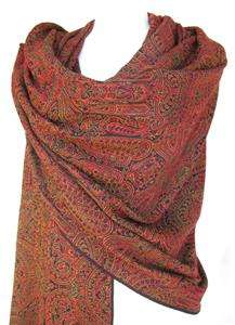 Woven Paisley Wool Stole Shawl Wrap Scarf Throw Red Gold Black