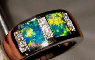 Gem Harlequin Solid OPAL & DIAMOND RING 14k White Gold