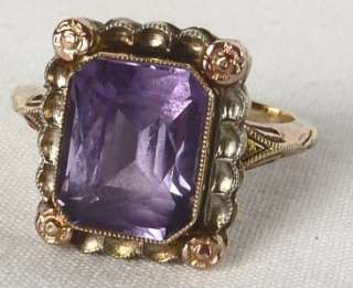 YELLOW+ROSE GOLD ART DECO ALEXANDRITE AMETHYST RING~GORGEOUS MOUNT