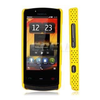 NEW YELLOW PERFORATED MESH HARD BACK CASE COVER FOR NOKIA 700