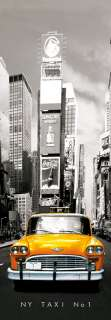 Large panorama poster NEW YORK CITY NYC YELLOW TAXI CAB NO 1 RETRO