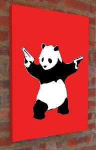 LARGE Banksy Panda monium graffiti art stencil canvas