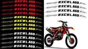 TAKASAGO EXCEL A60 RIM LIP DECALS STICKERS