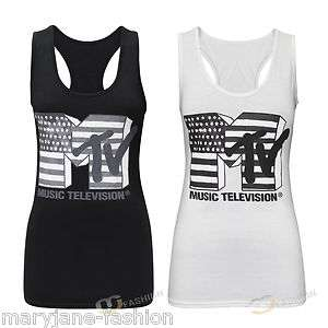 LADIES WOMENS MTV PRINTED MUSCLE BACK VEST TOP T SHIRT BLACK WHITE