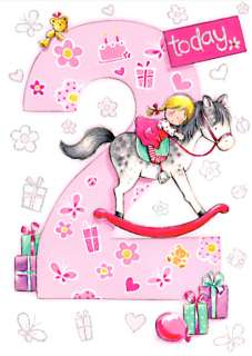 AGE 2 GIRL BIRTHDAY CARD   LITTLE GIRL ON ROCKING HORSE