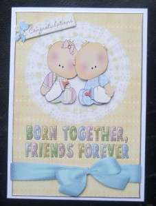 New Baby Twins Boy Girl Born Together Friends Forever Card