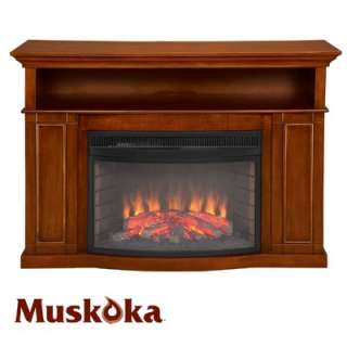 Muskoka Sheppard Electric Fireplace in Burnished Pecan  Wayfair