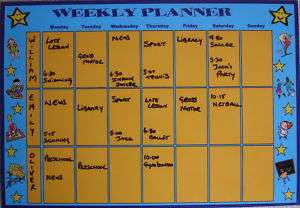 Kids, Childs Magnetic School Weekly Planner Organiser