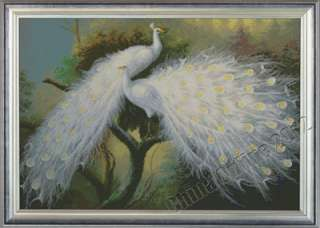 BEAUTIFUL WHITE PEACOCKS   counted cross stitch kit