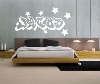 BOYS PERSONALISED GRAFFITI ART WALL STICKER DECAL