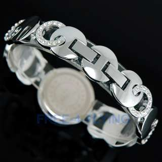 Elegant Shell white Crystal Lady Bracelet Bangle Watch