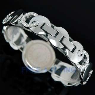 Elegant Shell white Crystal Lady Bracelet Bangle Watch
