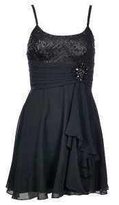 BCBG MAX AZRIA Short Black Silk Chiffon Sequin Party Dress   Assorted
