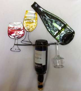 METAL WALL ART WINE BOTTLE & GLASS HOLDER