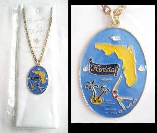 Old ENAMEL FLORIDA Souvenir Necklace PALM TREE Flamingo