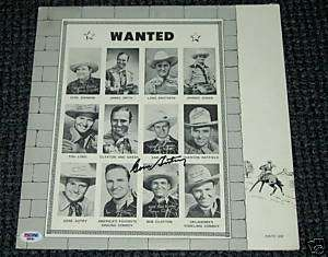 GENE AUTRY AUTOGRAPHED SIGNED RECORD COVER PSA/DNA WOW