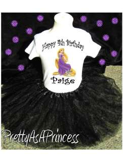 BIRTHDAY TANGLED RAPUNZEL TUTU OUTFIT BLACK DRESS AGES 1 5