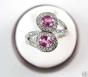 Ladies 14K White Gold Pink Sapphire Diamond Ring 1.42ct