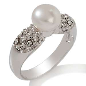 ™ Cultured Freshwater Pearl and Clear Crystal Band Ring
