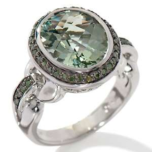 4ct Prasiolite and Green Diamond Sterling Silver Oval Ring