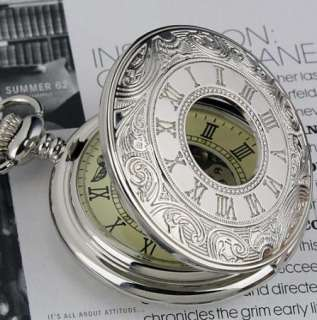 Skeleton Vintage Mechanical Pentant Men Pocket Watch Chain Silver