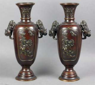 PAIR ANTIQUE JAPANESE MEIJI PERIOD BRONZE VASES 19th C.